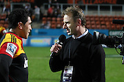 Chiefs Captain Mils Muliaina during his 100th Super rugby game been interviews my Matt Cooper, Investec Super 15 Rugby match, Chiefs v Stormers, at Waikato Stadium, Hamilton, New Zealand, Saturday 14 May 2011. Photo: Dion Mellow/photosport.co.nz