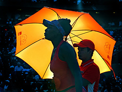 March 26, 2018 - Key Biscayne, FL, USA - Venus Williams between sets as she plays Johanna Konta at the Miami Open on Key Biscayne, Fla., March 26, 2018. (Credit Image: © Charles Trainor Jr/TNS via ZUMA Wire)