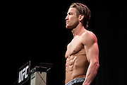 DALLAS, TX - MARCH 13:  Sam Stout stands on the scale during the UFC 185 weigh-ins at the Kay Bailey Hutchison Convention Center on March 13, 2015 in Dallas, Texas. (Photo by Cooper Neill/Zuffa LLC/Zuffa LLC via Getty Images) *** Local Caption *** Sam Stout
