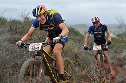 WORCESTER, SOUTH AFRICA - MARCH 21: Ben Hoffman and Sebastian Kienle stage three's 122km from Robertson to Worcester on March 21, 2018 in Cape Town, South Africa. Mountain bikers from across South Africa and internationally gather to compete in the 2018 ABSA Cape Epic, racing 8 days and 658km across the Western Cape with an accumulated 13 530m of climbing ascent, often referred to as the 'untamed race' the Cape Epic is said to be the toughest mountain bike event in the world. (Photo by Dino Lloyd)