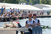 """Henley on Thames, United Kingdom, 3rd July 2018, Sunday,  """"Henley Royal Regatta"""",  Double Sculls Challenge Cup , Finalists, Bow Angus GROOM, Stroke Jack BEAUMONT GBR M2X, Leander Club, prepare for the Start, View, Henley Reach, River Thames, Thames Valley, England, UK."""