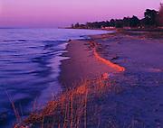 Sunrise illuminating Lake Huron between Oscoda and Greenbush, Michigan.