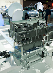 Demonstration model of new electric engine designed by Renault at the Frankfurt Motor Show 2009