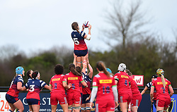 Hollie Cunningham of Bristol Bears Women wins a line-out - Mandatory by-line: Paul Knight/JMP - 01/12/2018 - RUGBY - Shaftesbury Park - Bristol, England - Bristol Bears Women v Harlequins Ladies - Tyrrells Premier 15s