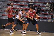 Sassari 14 Agosto 2012 - Qualificazioni Eurobasket 2013 -Allenamento<br /> Nella Foto : GIUSEPPE POETA ANDREA CINCIARINI<br /> Foto Ciamillo
