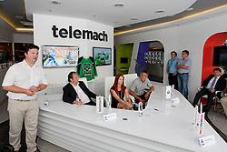 Robert Verlic, Matjaz Sekelj, Mitja Mejac and Ditka Maucec of UPC Telemach at HDD UPC Telemach Olimpija Press Conference about new main sponsor UPC Telemach as main sponsor of HDD Olimpija, on June 20, 2012 at UPC Telemach, Ljubljana, Slovenia. (Photo By Matic Klansek Velej / Sportida)