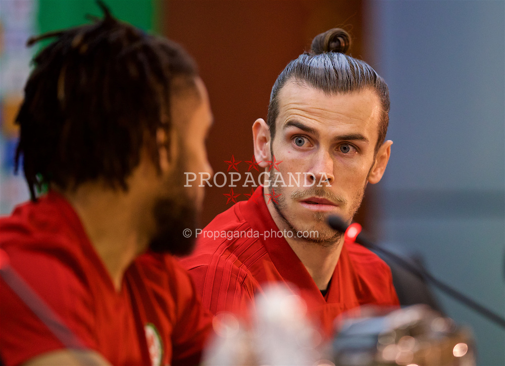NANNING, CHINA - Sunday, March 25, 2018: Wales' Gareth Bale during a press conference at the Guangxi Sports Centre ahead of the 2018 Gree China Cup International Football Championship final match against Uruguay. (Pic by David Rawcliffe/Propaganda)
