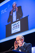Jeremy Corbyn MP. Leader of the Labour Party speaking at the the TUC Congress 2015, Brighton. UK