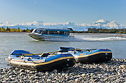 Sightsee by jet boat or rubber raft on the McKinley Queen. See Mount Foraker, Mount Hunter, and Mount McKinley from the confluence of the Talkeetna and Susitna Rivers at Talkeetna, Alaska, USA. Denali (20,310 feet or 6191 meters, aka Mount McKinley) is the highest mountain peak in North America, and measured from base to peak, it is earth's tallest mountain on land. Mount McKinley is a granitic pluton uplifted by tectonic pressure while erosion has simultaneously stripped away the somewhat softer sedimentary rock above and around it.