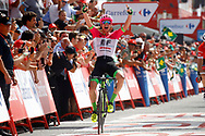 Arrival, Simon Clarke (AUS - EF Education First - Drapac) winner, during the UCI World Tour, Tour of Spain (Vuelta) 2018, Stage 5, Granada - Roquetas de Mar 188,7 km in Spain, on August 29th, 2018 - Photo Luca Bettini / BettiniPhoto / ProSportsImages / DPPI