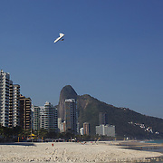 Hang gliders fly past the surrounding hillsides and buildings and prepare to land on the beach in the late afternoon light at Sao Conrado beach, Rio de Janeiro,  Brazil. 8th July 2010. Photo Tim Clayton...