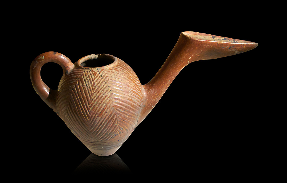 Bronze Age Anatolian terra cotta side spouted pitcher with bill shaped end - 19th to 17th century BC - Kültepe Kanesh - Museum of Anatolian Civilisations, Ankara, Turkey.  Against a black background. .<br /> <br /> If you prefer to buy from our ALAMY PHOTO LIBRARY  Collection visit : https://www.alamy.com/portfolio/paul-williams-funkystock/kultepe-kanesh-pottery.html<br /> <br /> Visit our ANCIENT WORLD PHOTO COLLECTIONS for more photos to download or buy as wall art prints https://funkystock.photoshelter.com/gallery-collection/Ancient-World-Art-Antiquities-Historic-Sites-Pictures-Images-of/C00006u26yqSkDOM