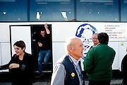 Sostenitori della Lega Nord Toscana nell'area di sosta Cantagallo lungo l' autorstrada del sole Bologna-Firenze, dove l' allora segretario missino Almirante, si vide rifiutare dagli operai dell'area di sosta , sia un pasto sia il rifornimento di benzina.<br /> 8 novembre 2015 . Daniele Stefanini /  OneShot