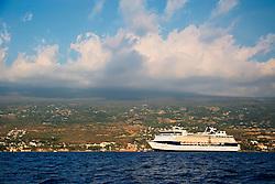 Celebrity Cruises' ship, Summit, anchoraged in Kailua Bay, Kailua Kona, Big Island, Hawaii, Pacific Ocean