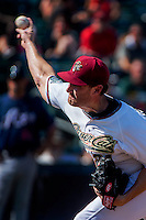 Sacramento River Cats Philip Humber (21) pitches during the final River Cats game against the Reno Aces, Monday, September 1, 2014. The Reno Aces won the game 2-1 in the tenth inning to advance to the playoffs and eliminate the River Cats from post season play.<br /> Photo Brian Baer