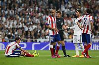 Real Madrid's Sergio Ramos and Atletico del Madrid´s Mandzukic, Joao Miranda and Diego Godin during quarterfinal second leg Champions League soccer match at Santiago Bernabeu stadium in Madrid, Spain. April 22, 2015. (ALTERPHOTOS/Victor Blanco)