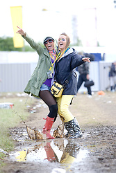 Suzie Hall & Lisa Jayne Leiper before the opening at T in the Park Friday 11 July 2008..T in the Park 2008 festival took place on the Friday 10th July, Saturday 11th July and Sunday 12th July, at Balado, near Kinross in Perth and Kinross, Scotland..Pic ©Michael Schofield. All Rights Reserved..