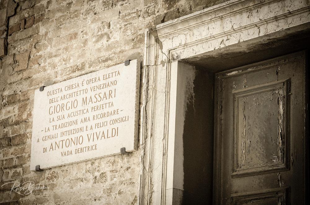 Plaque honoring Giorgio Massari and Antonio Vivaldi at Santa Maria della Pietà Church, Venice, Veneto, Italy