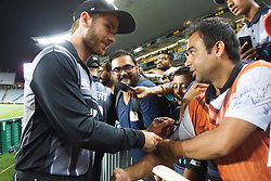 February 17, 2018 - Auckland, Auckland, New Zealand - Kane Williamson of New Zealand takes selfies with fans after the T20 Tri series between New Zealand and Australia at Eden Park in Auckland on Feb 16, 2018. Australia win by 5 wickets. (Credit Image: © Shirley Kwok/Pacific Press via ZUMA Wire)