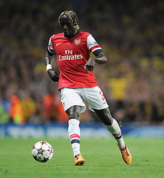 Arsenal's Barcay Sagna - Photo mandatory by-line: Alex James/JMP - Tel: Mobile: 07966 386802 22/10/2013 - SPORT - FOOTBALL - Emirates Stadium - London - Arsenal v Borussia Dortmund - CHAMPIONS LEAGUE - GROUP F