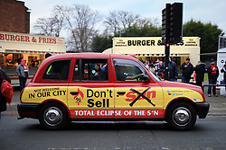 11th February 2017 - Premier League - Liverpool v Tottenham Hotspur - A taxi covered in livery promoting a boycott of The Sun newspaper - Photo: Simon Stacpoole / Offside.