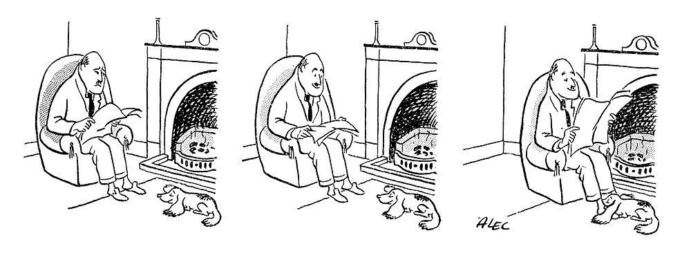 (A man warms his feet under his dog's floppy ears)