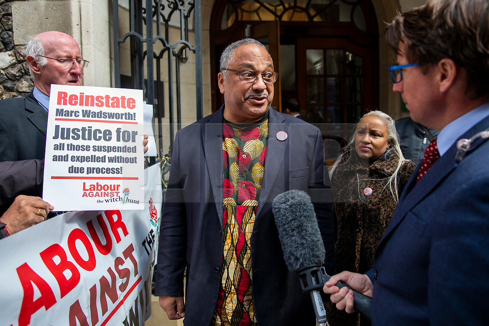 © Licensed to London News Pictures. 25/04/2018. London, UK. Marc Wadsworth (centre) greets his supporters outside Church House in Westminster where his disciplinary hearing for alleged antisemitic comments is taking place. His supporters claim a 'witch hunt' of left-wing activists is taking place within the Labour Party. Photo credit: Rob Pinney/LNP