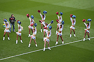 The 'Crystals' Cheerleaders performing before k/o. Barclays Premier League match, Crystal Palace v Norwich city at Selhurst Park in London on Saturday 9th April 2016. pic by John Patrick Fletcher, Andrew Orchard sports photography.