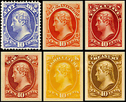 Group of six official postage stamps depicting Thomas Jefferson issued in 1915