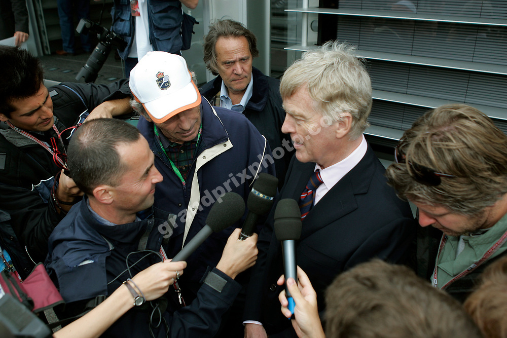 FIA president Max Mosley surrounded by reporters in the paddock at Silverstone before the 2005 British Grand Prix at Silverstone. Photo: Grand Prix Photo
