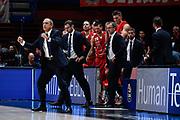 Ettore Messina Esultanza<br /> A|X Armani Exchange Olimpia Milano - Germani Basket Brescia<br /> Basket Serie A LBA 2019/2020<br /> MIlano 29 September 2019<br /> Foto Mattia Ozbot / Ciamillo-Castoria