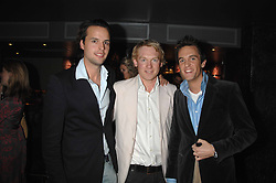Left to right, CHARLIE GILKES, ED GODRICH and DUNCAN STIRLING at a party hosted by Kitts nightclub in honour of Ed Godrich to than him for his work on designing the club in Sloane Square, London on 1st March 2007.<br />