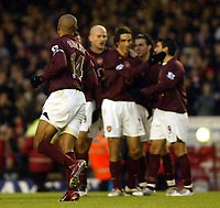 Photo: Chris Ratcliffe.<br />Arsenal v Blackburn Rovers. The Barclays Premiership.<br />26/11/2005.<br />How long will Thierry Henry be looking at these team-mates, here he celebrates his goal