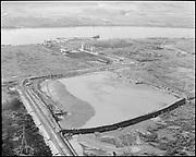 """Port of Portland. Rivergate Aerials. Ash Grove, Freightliner. March 24, 1964"" (Oregon Steel site)"