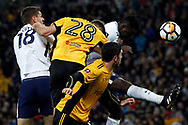 Victor Wanyama of Tottenham Hotspur (R) heads a chance at goal. The Emirates FA Cup, 4th round replay match, Tottenham Hotspur v Newport County at Wembley Stadium in London on Wednesday 7th February 2018.<br /> pic by Steffan Bowen, Andrew Orchard sports photography.