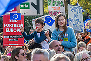 Marching down Piccadilly -The People's Vote March For The Future demanding a Vote on any Brexit deal. The protest assembled on Park Lane and then marched to Parliament Square for speeches.