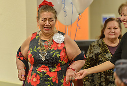 March 22, 2019 - Anaheim, California, U.S. - Maria Campos prepares to walk down the runway during a fashion show at SeniorServ in Anaheim, CA, on Friday, March 22, 2019. (Credit Image: © Jeff Gritchen/SCNG via ZUMA Wire)