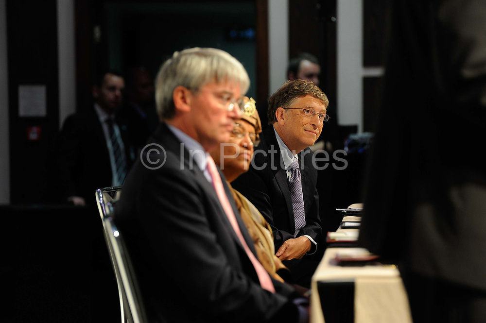 Bill Gates listening to speakers as Global leaders gather for the Gavi Alliance conference to drive a new, forceful impetus to immunisation efforts in the world's poorest countries on 13th June 2016 in London, United Kingdom. Gavi, the Vaccine Alliance is a public-private global health partnership committed to increasing access to immunisation in poor countries. The organisation brings together developing country and donor governments, the World Health Organization, UNICEF, the World Bank, the vaccine industry in both industrialised and developing countries, research and technical agencies, civil society, the Bill & Melinda Gates Foundation and other private philanthropists.