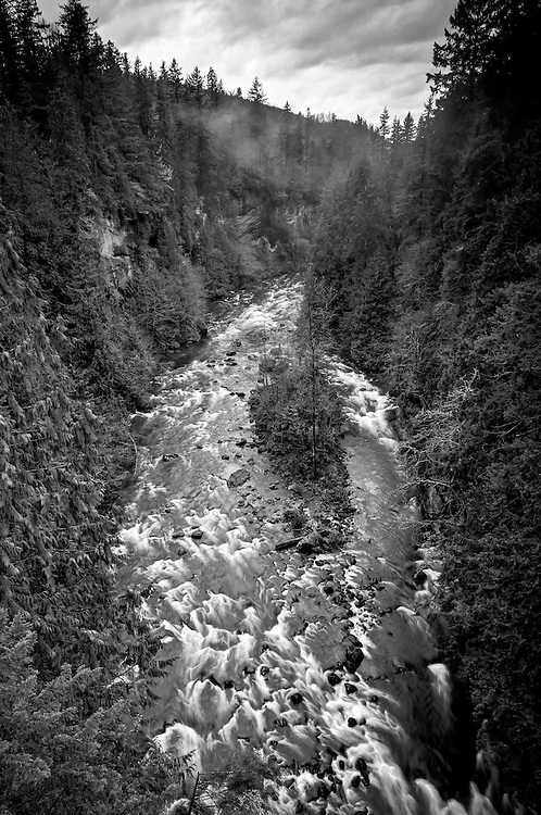 The Green River Gorge near Enumclaw, Washington photographed from a single-lane bridge spanning this very windy gorge.
