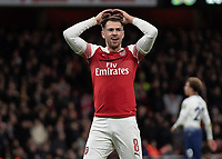 Football - 2018 / 2019 EFL Carabao Cup (League Cup) - Quarter-Final: Arsenal vs. Tottenham Hotspur<br /> <br /> Aaron Ramsey (Arsenal FC) reacts after Paulo Gazzaniga (Tottenham FC)  saves his shot at The Emirates.<br /> <br /> COLORSPORT/DANIEL BEARHAM