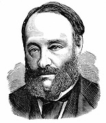 James Prescott Joule (1818-1889) English physicist. Mechanical equivalent of heat (J).  Engraving from 'The Science Record' New York 1875 .