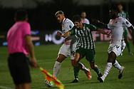 Lucas Piazón of Rio Ave in action with Hernandez of Milan  during the Europa League match between Rio Ave FC and AC Milan at Estadio dos Arcos, Vila do Conde, Portugal on 1 October 2020.