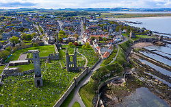 Aerial view of St Andrews Cathedral and city in St Andrews , Fife, Scotland, UK