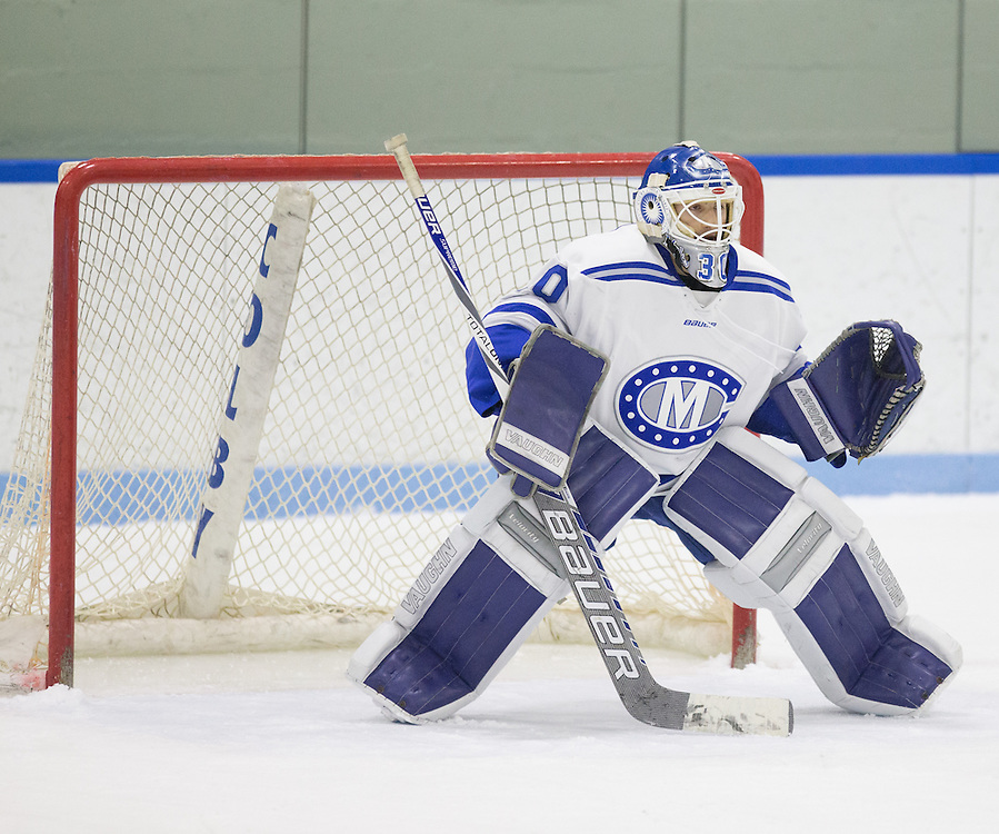 Jordan Nathan, of Colby College, in a NCAA Division III hockey game against Connecticut College on February 20, 2015 in Waterville, ME. (Dustin Satloff/Colby College Athletics)
