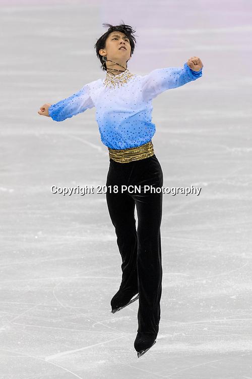Yuzuru Hanyu (JPN) competing in the Figure Skating Men,s Short competiition at the Olympic Winter Games PyeongChang 2018