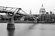 View of the Millennium Bridge across to St. Paul's Cathedral in the City of London