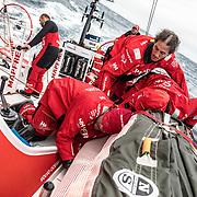 Leg 02, Lisbon to Cape Town, day 18, on board MAPFRE, Antonio Cuervas-Mons, Blair Tuke and Tamara Echegoyen stacking sails. Photo by Ugo Fonolla/Volvo Ocean Race. 22 November, 2017