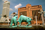 MALAYSIA, KUALA LUMPUR, ECONOMY the new Malaysia Stock Exchange Building with a sculpture of a bear and a bull in front