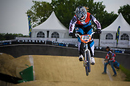 #210 (CHRISTENSEN Simone) DEN at the UCI BMX Supercross World Cup in Papendal, Netherlands.