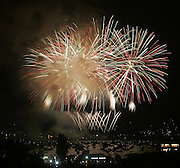 Fireworks light up the Seattle sky for the Family 4th at Lake Union.<br />